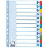Hakemisto A4 kartonkia 12-os värilliset muovikielekkeet 5KPL