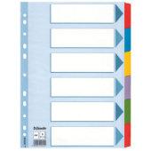 Hakemisto A4 kartonkia 6-os värilliset muovikielekkeet 5KPL
