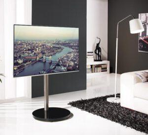 Tyylikäs tv-pöytä B-TECH BTF801 musta/hopea max. 50″/30 kg.