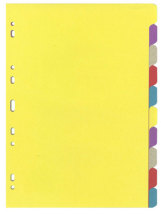 Välilehtisarja A4/10-osainen värillinen kartonki 25KPL