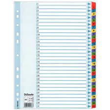 Hakemisto A4 kartonkia 1-31 värilliset muovikielekkeet