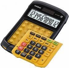 Pöytälaskin Casio WM-320MT keltainen pestävä näppäimistö