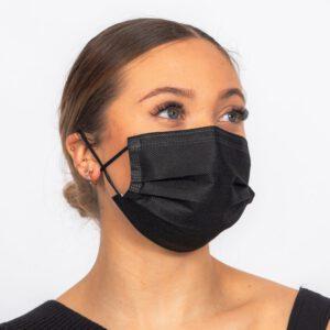 Kirurginen nenä-suusuojus, Type II R (roiskesuojattu) Musta 1000kpl/ltk. (50kpl/pak)