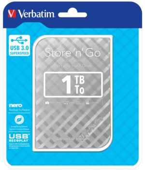 "Ohut ulkoinen kiintolevy Verbatim 1TB Hard Drive 2,5"" Store 'N' Go USB 3.0, Silver"