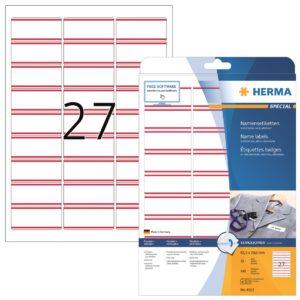 Tekstiilitarra Herma 4512 63,5×29,6mm valk/pun 27-os  20ark/ras  3RAS