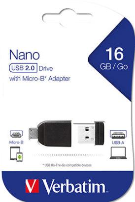 USB muisti micro-sovittimella Verbatim Nano 16 GB  10/PAK