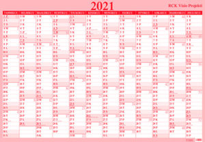Taulukkokalenteri Visio Projekti (Seinämuistio), 2021