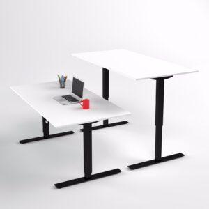 Pieni Sähköpöytä kotitoimistoon 2-jalalla Linak DL16ic musta, kansi 110x65cm. valk.