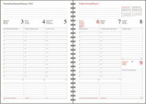 Pöytäkalenteri A5 Lyyra kierre 2022, 3-kielinen