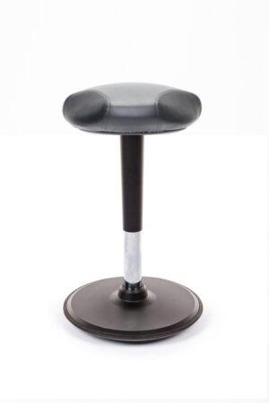 Stoo® Triangle aktiivituoli keinonahkaistuimella – Korkea 57 – 86 cm, musta runko